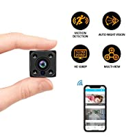 Spy Camera WiFi Spy Cameras, Mini Hidden Camera with Auto Night Vision HD 1080P Nanny Cam Home Office Surveillance Security Camera Motion Detection Alarm fit Indoor Outdoor