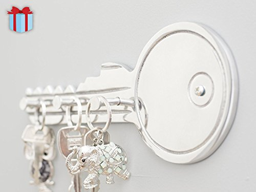 Decorative Key - Shaped Key Wall Holder by Comfify | Hand-Cast Aluminum Metal Hooks to Hold Keys, Leashes, Coats, and More | 3 Key Hooks, Polished Finish, Includes Screws and Wall Anchors