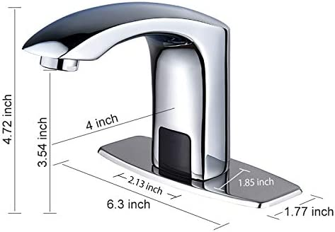 Automatic Commercial Sensor Touchless Bathroom Faucet with Hole Cover Deck Plate,Vanity Faucet,Motion Activated Hands Free Vessel Sink Tap with Control Box,Lead Free Certificated,Chrome