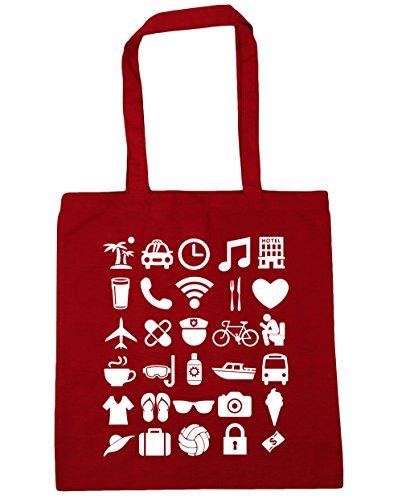 HippoWarehouse vacaciones iconos Tote Compras Bolsa de playa 42cm x38cm, 10litros Classic Red