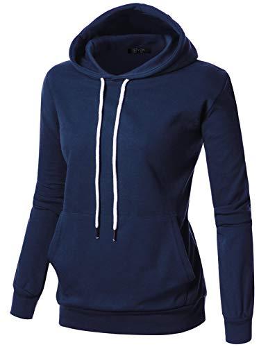 GIVON Womens Comfortable Long Sleeve Lightweight Hoodie Kanga Pocket/DCF019-NAVY-S