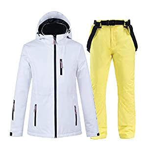 PEIN Men/Woman/Ski Suits/Jacket And Pants/Windproof And Waterproof Outdoor Clothes/Winter Sports/white Top/Yellow Pants/Couple Suit,ski suits-XXL