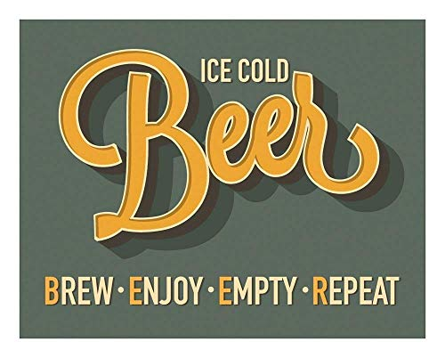 Funny Ice Cold Beer Print - 11x14 Unframed Art Poster - a Great Gift for Those Passionate about Beer and Drinking - Game Room, Dorm, Bedroom Decor - Gift Under $20 ()
