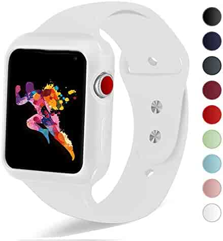 KEASDN Compatible with Apple Watch Band with Case 38mm 42mm, Silicone Sport iWatch Band with Shock-Proof Case Compatible with Apple Watch Series 3/2/1 Sport and Edition