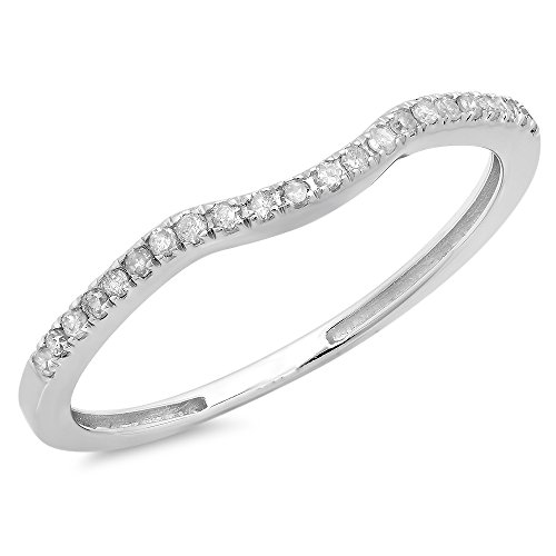 0.15 Carat (ctw) 10K Gold Round White Diamond Anniversary Ring Wedding Guard Band