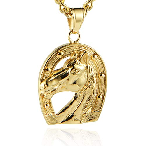 (HZMAN Horse Mustang Pony Horseshoe Stainless Steel Necklace Pendant Lucky Charm Western Cowboy Cowgirl)