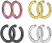 U7 Men Earrings Set of 1-5 Pairs Punk Style Surgical Huggie Earrings Stainless Steel Spike Punk Earring,Mixed