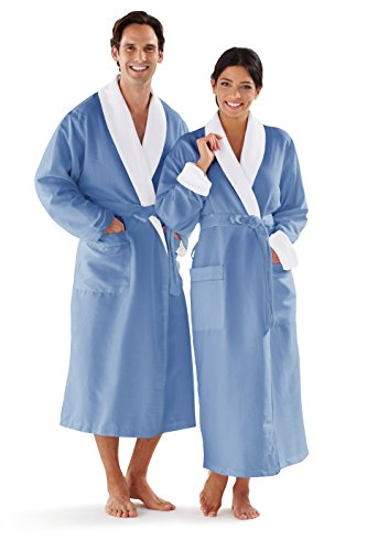 Large French Wallet - Boca Terry Women's and Men's Robe, Luxury Microfiber Wedgewood Bathrobe, MEDIUM/LARGE