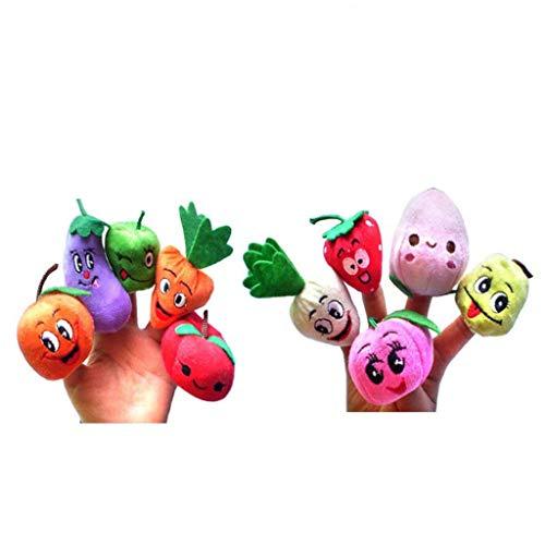 [해외]yuanhaourty 10Pcs Cartoon Mini Plush Figures Toys Vegetable Fruit Dolls Finger Puppets Set Baby Story Telling Hand Cloth Doll Educational Toys / yuanhaourty 10Pcs Cartoon Mini Plush Figures Toys Vegetable Fruit Dolls Finger Puppets...