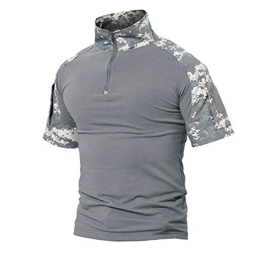 (Military Ba Men's Tactical Military Combat Long Sleeve Camo Shirt Zipper-ACU L )