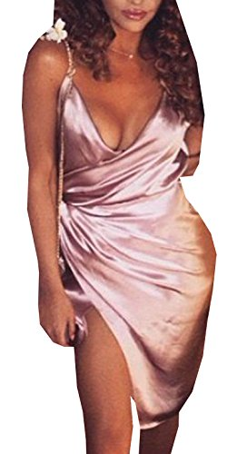 Greatgorgeous Womens Satin Strappy Low Draped Bustline Party Evening Sexy Dress,Pink,L