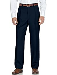 Classic Fit Solid Taupe Tan Pleated Washable Dress Pants
