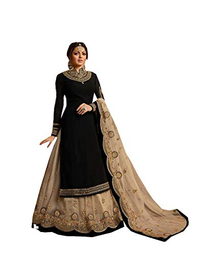 (Delisa Indian/Pakistani Ethnic wear Georgette Straight Salwar Kameez for Womens (Black, LARGE-42))