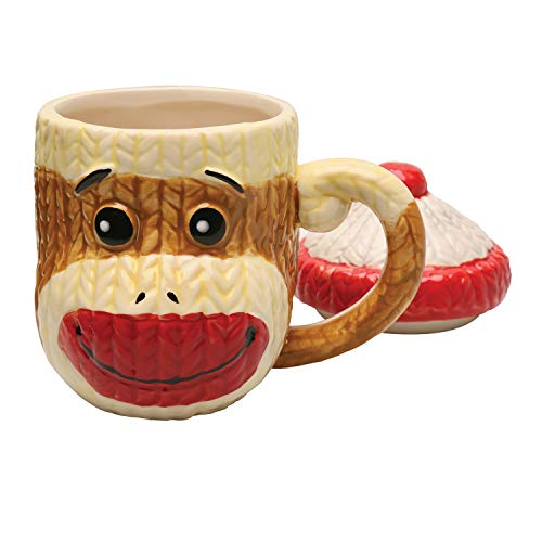 (Sock Monkey Mug with Lid Ceramic Cable-Knit Texture Collectible Coffee Cup)