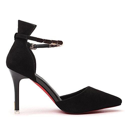 KHSKX-Le Nouveau Style De Chaussures À Talons Hauts Talons De Chaussures De Femme Mariée Bon Travail Travail Chic Banlieue Noire Chaussures black ThQTZGf9