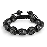 Bling Jewelry Shamballa Inspired Black Skulls Crystal Bead Bracelet 12mm Alloy