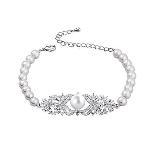 (SWEETV Wedding Bridal Pearl Bracelet for Women,Brides,Bridesmaid-Round White Freshwater Cultured Pearl Bracelet)