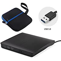 External optical drive macExternal DVD Drive Portable Optical USB3.0 CD DVD-RW Burner Writer with Embedded USB Cable for Mac Air / Pro Laptop Desktop Black with Protective Storage Carrying Sleeve Case