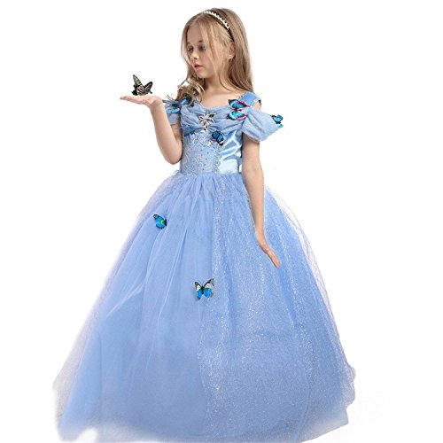 ReachMe Gilr's Princess Cinderella Classic Blue Dress Costume With Butterflies(Blue,150CM) (Disney Princess Girls Cinderella Classic Costume)