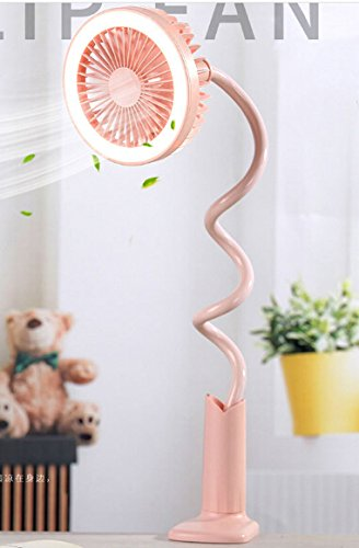 Adjustable Clip Fan with Night Light, Rechargeable Battery USB Mini Desktop Table Fan Flexible Neck Goose 360 Degree Personal Handheld Fan for Baby Stroller Home Dorm Office Travel (Pink, With Light) by BXT (Image #2)