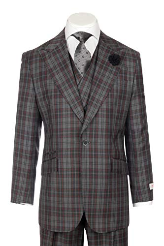 Suit Wool Gray Windowpane - Tiglio New Rosso Gray and Dark Gray Checkered with red Windowpane Wide Leg Pure Wool Suit & Vest Rosso R7412/6