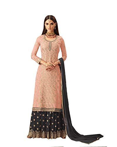 ziya Ethnic wear Readymade Indian/Pakistani Georgette Palazzo Salwar Kameez 57004 (Peach, M-40)
