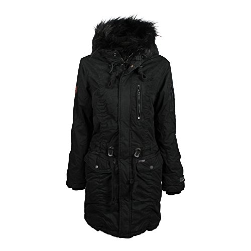 Anastina Noir Manteau Cotton Femme Canvas Coated Khujo 7YpdqI