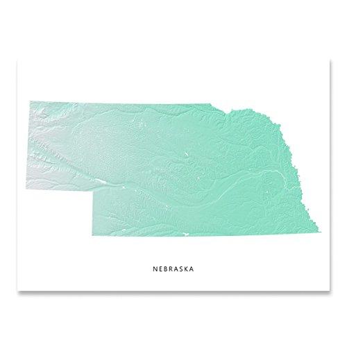 Nebraska State Map Print, NE, Aqua Landscape Art ()