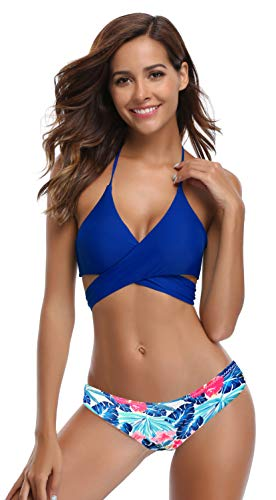 SHEKINI Womens Bathing Suits Floral Printing Swim Bottoms Padded Halter Bandage Bikini Two Piece Swimsuits (X-Large, Jewelry ()