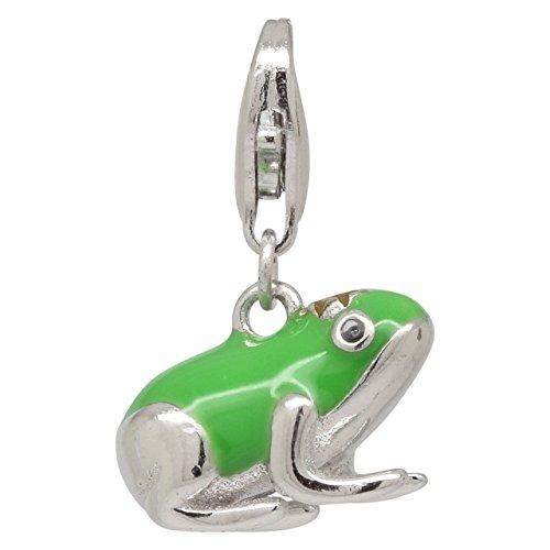 Frog Charm Enamel - Sterling Silver Enamel Frog Charm Bracelet