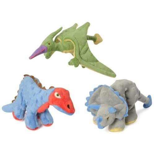 goDog Dinos Dinosour Chew Toy Bundle - Pack of 3 includes Terry Terradactyl, Frills Triceratops, and Spike (Triceratops Dog)