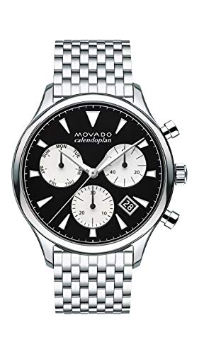 Movado Heritage, Stainless Steel Case, Black Chronograph Dial, Stainless Steel Bracelet, Men, 3650014