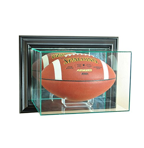 NFL Wall Mounted Football Glass Display Case, Black - Gold Nfl Signature Football