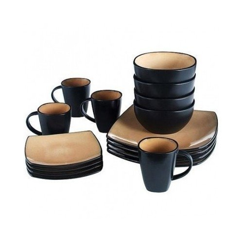 Square Dinnerware Service for 8, Plates Bowls Mugs, 32-Piece Set, Modern Taupe & Black by Gibson Home by Gibson Home (Image #3)
