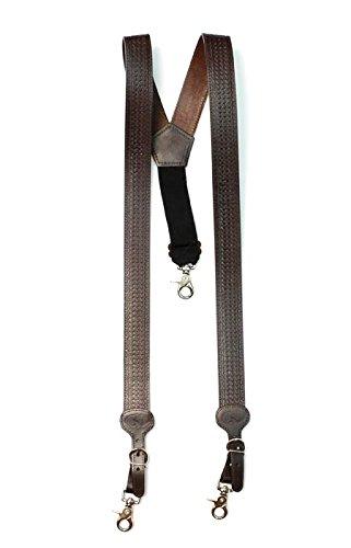 Nocona Belt Co. Men's Basic Basket Leather Suspender, Brown, Medium by Nocona Belt Co.