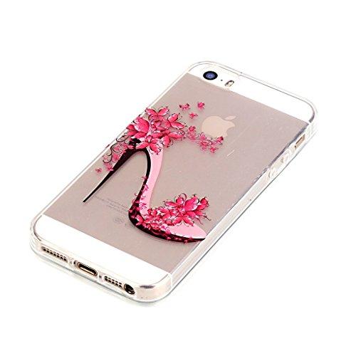 iPhone 5 5S SE Schutzhülle , LH Transparent Schuhe mit hohen Absätzen TPU Weich Muschel Tasche Schutzhülle Silikon Hülle Schale Cover Case Gehäuse für Apple iPhone 5 5S SE
