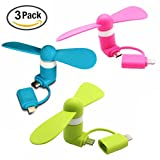 2-in-1 Mini Fan for iPhone/iPad and Android - Pink, Blue & Green - 3-Pack Bundle