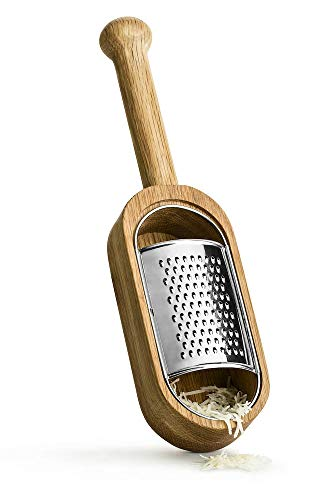 Sagaform Deluxe Cheese Grater and Server - Premium Oak Wood and Stainless Steel Design - Remove Grater for Wooden Serving Dish - Comfortable Grip Handle, Easy to Clean