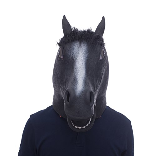 Make A Horse Head Costume (Halloween Novelty Deluxe Mask Molezu Black Fur Mane Horse Head Mask)