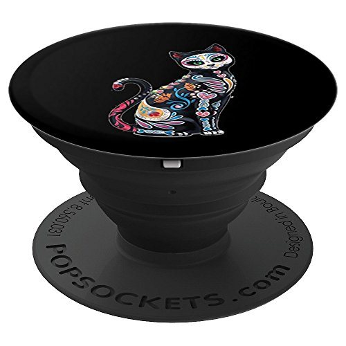 Sugar Skull Mosaic Cat - PopSockets Grip and Stand for Phones and Tablets -