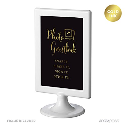 Photo Guest Book Polaroid - Andaz Press Wedding Framed Party Signs, Black and Metallic Gold Ink, 4x6-inch, Photo Guestbook Snap It, Shake It, Sign It, Stick It, Polaroid Sign Double-Sided, 1-Pack, Includes Frame