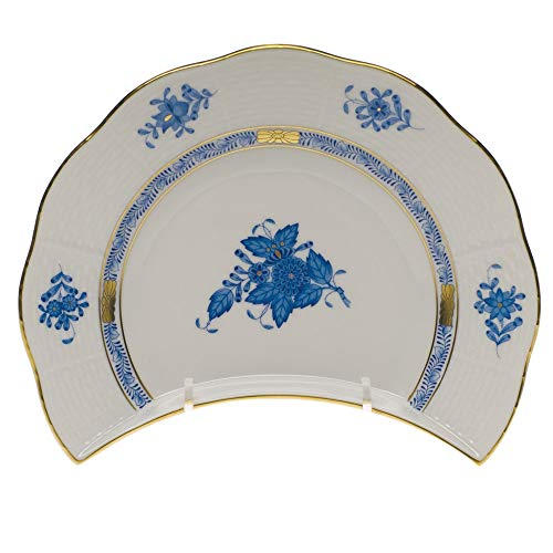 Herend Chinese Bouquet Blue Porcelain Crescent Salad Plate Bouquet Blue Salad Plate