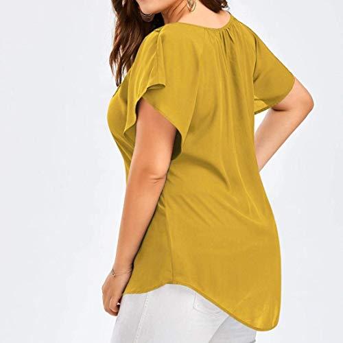 Manche Shirts Femme Taille Ete Vintage Haut Mode Uni Tunique Blouse Elgante V Cou Chemisiers Adelina Dentelle Chauve Large Jaune Grande pissure Shirt Tee Souris qPfcTEUw