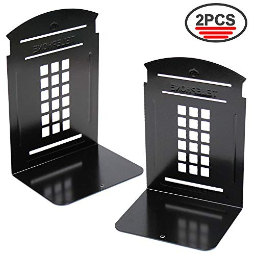 WeiMo Non-Slip Heavy Metal Bookends 1 Pair Nostalgic London Telephone Booth Bookends for School Home Library Office Decorative Using (Black)