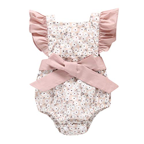 RoDeke Newborn Female Baby Sleeveless Solid Color Print Frilled Puff Sleeve Skinny Bow Haber Climbing Suit Pink