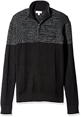 Calvin Klein Men's Quarter Zip Mock Neck Color Block Long Sleeve Sweater