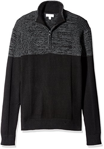 Calvin Klein Men's Quarter Zip Mock Neck Color Block Long Sleeve Sweater, Black, Medium