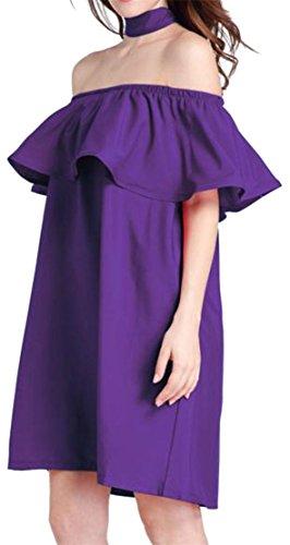 Shoulder Purple Womens Cruiize Belt Dresses Ruffled Beach Swing Elegant Off IHzgA