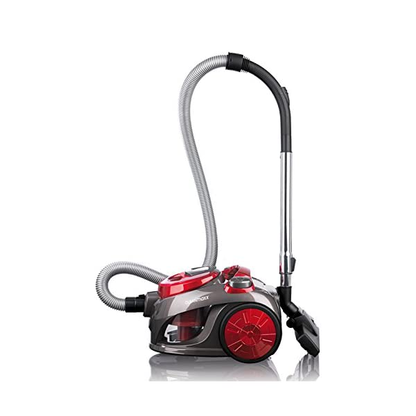 CLEANmaxx 08192 Powerful Cyclone Energy Efficiency A Bagless Vacuum Cleaner with Dust Container, 2 Litre, 700 W, Red