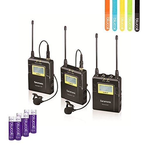 Saramonic UWMIC9 (RX9+TX9+TX9) 96-Channel Digital UHF Wireless Lavalier Microphone System with 2 Bodypack Transmitters Portable Receiver –INCLUDES– 6 Blucoil AA Batteries AND 5 Pack of Cable ()